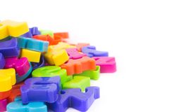 Close up of colourful plastic letters.Concept of education stock image