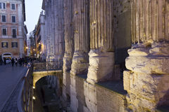 Close up of the columns of Hadrian Temple in Rome Royalty Free Stock Image