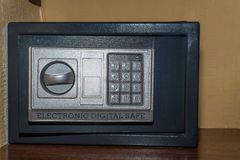 Close up of combination safe. Closeup of front view combination safe in hotel room Stock Photography