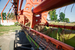 Close up  of  combine harvester header. Close up  of a combine harvester header Stock Photography