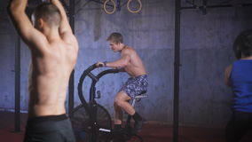 Close up combined crossfit training at the gym. Group workout. Exercises for group training stock video