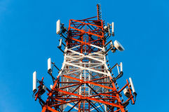 Close up at communication tower Royalty Free Stock Image