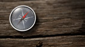 Close up compass showing north on a wooden table. 3D Rendering stock video footage