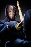Close up of competition of two kendo fighters Stock Images