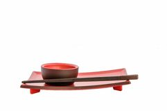 Close up of complete red empty sushi set. Stock Images