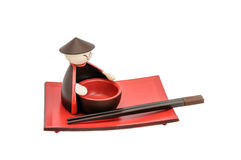 Close up of complete red empty sushi set. Stock Image
