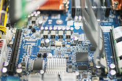 Close-up of computer circuit board in manufacturing industry royalty free stock image