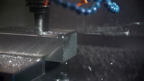 Close Up Of Computer Controlled Lathe Milling Metal Component stock video