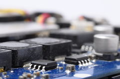 Close up of computer electronic components Royalty Free Stock Photo
