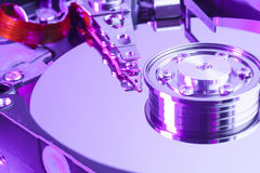 Close up of a computer hard disk drive Royalty Free Stock Images