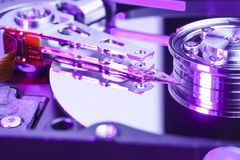 Close up of a computer hard disk drive. Macro shot of a computer hard disk drive Stock Image