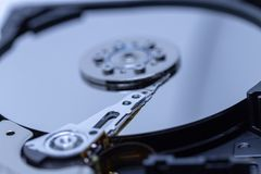 A close up of a hard drive. A close up of a computer hard drive stock image
