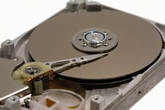 Close up of a computer hard drive internal Royalty Free Stock Images
