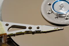 Close up of a computer hard drive internal stock image