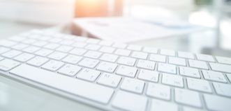 Close-up of a computer keyboard on the desktop. stock image