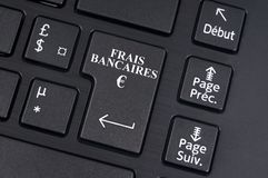 Bank charge computer key written in French vector illustration