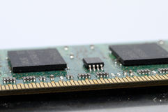 Close up of computer memory. Macro of computer ram memory barrette stock photo
