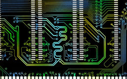 Close up the computer mixed color line electronic circuit board Royalty Free Stock Photos
