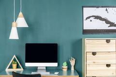 Green home office interior royalty free stock images