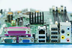 Close up of computer motherboard, back view of connectors Stock Images