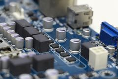 Close-up of computer motherboard component. The motherboard is a sheet of plastic that holds all the circuitry to connect the various components of a computer Royalty Free Stock Image