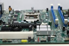 Close-up of computer motherboard component. The motherboard is a sheet of plastic that holds all the circuitry to connect the various components of a computer Royalty Free Stock Images