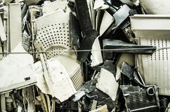 Close up of computer parts of electronic parts as garbage Stock Photo
