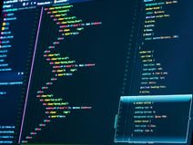 Close up of a computer screen with HTML and CSS code royalty free stock photos