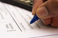 Close up of Concept showing of filling Indian Income tax form ITR 4.  royalty free stock image