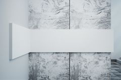 Concrete wall with white banner. Close up of concrete wall with empty white banner. Gallery concept. Mock up, 3D Rendering Royalty Free Stock Photo