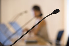 Close up of conference microphone Royalty Free Stock Photo