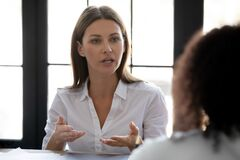 Free Close Up Confident Serious Businesswoman Talking With Business Partner. Stock Image - 178079561