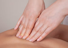 Close up of connective tissue massage on  muscle group Stock Image