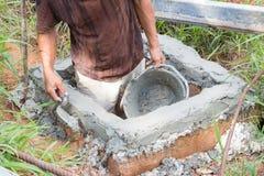 Close-up of construction process mason work Stock Image