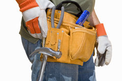 Close up of construction worker's tool belt, cut out Royalty Free Stock Photo