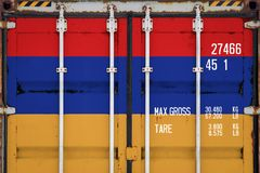 Close-up of the container with the national flag royalty free stock photos