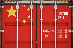 Close-up of the container with the national flag stock image