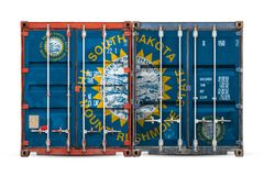 Close-up of the container with the national flag royalty free stock photo