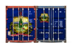 Close-up of the container with the national flag stock photos