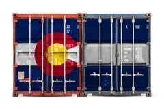 Close-up of the container with the national flag. Of Colorado state. The concept of  Colorado state  export-import and national delivery of goods royalty free stock photo