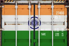 Close-up of the container with the national flag stock photography