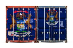 Close-up of the container with the national flag royalty free stock image