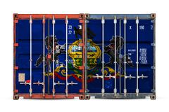 Close-up of the container with the national flag stock photo