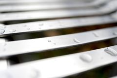 Close up of contemporary modern stainless steel street or park b stock photography