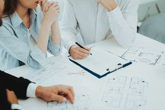 Close-up. Contract Signing Concept. Property Buy. Young Couple. Meeting With Rieltor Concept. Bright Office. Making A Contract. Buying A Property. Panoramic stock images