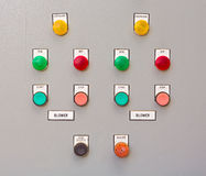 Close-up Control panel of manufacturing in factory. Stock Photo
