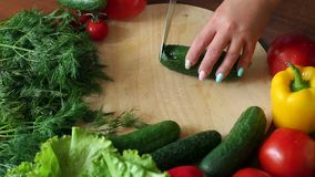 Close-up of cook cutting fresh cucumber on wooden chopping board, slow motion. Cooking vegetable salad at home in the kitchen stock video footage