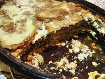 Close up of cooked moussaka homemade food in the pot for cooking royalty free stock photography