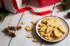 Close-up of cookies with Christmas gifts Stock Image