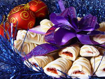 Close-up cookies with violet bow Stock Images